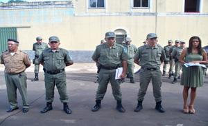 A solenidade aconteceu em frente ao Quartel de Policia