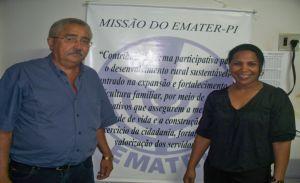 engenheiro agrônomo Domerval Luz e a coordenadora regional do Emater Chiquinha do PT