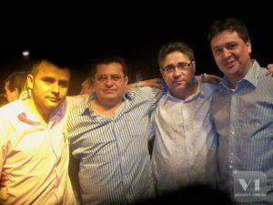 O vereador De Paula, prefeito Venicio do Ó e os deputados João Madson e Nerinho.