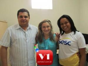 Prefeito Venicio do Ó, secretária Carmelina e a gerente Nayra Tianny